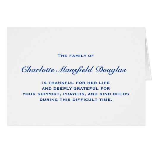 Bereavement and Sympathy Thank You Notes Card