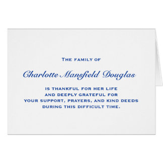 Bereavement and Sympathy Thank You Notes Note Card
