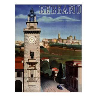 Bergamo Vintage Travel Poster Restored Postcard