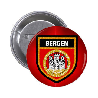Bergen Flag 6 Cm Round Badge