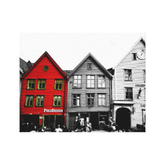 Bergen Norway Europe Black and White Canvas