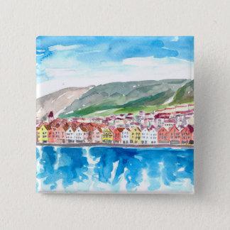 Bergen Norway Old Bryggen Harbour Seafront 15 Cm Square Badge