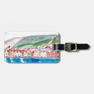 Bergen Norway Old Bryggen Harbour Seafront Luggage Tag