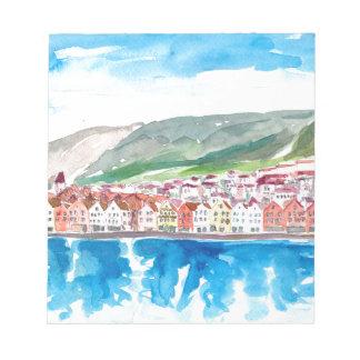 Bergen Norway Old Bryggen Harbour Seafront Notepad