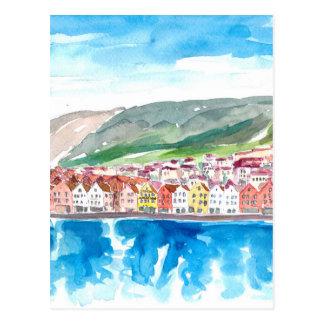 Bergen Norway Old Bryggen Harbour Seafront Postcard