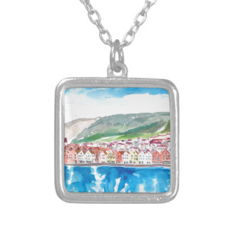 Bergen Norway Old Bryggen Harbour Seafront Silver Plated Necklace