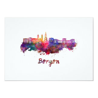 Bergen skyline in watercolor card