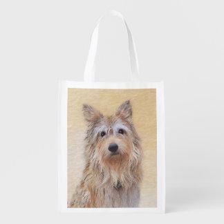 Berger Picard Painting - Cute Original Dog Art Reusable Grocery Bag
