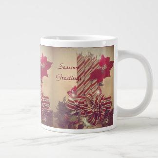 Beribboned Holiday Candle Large Coffee Mug