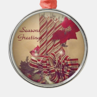 Beribboned Holiday Candle Metal Ornament