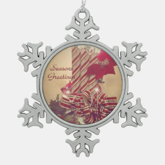 Beribboned Holiday Candle Snowflake Pewter Christmas Ornament