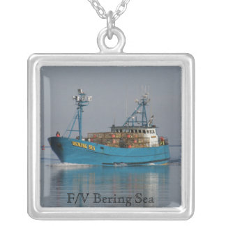 Bering Sea, Crab Boat in Dutch Harbor, AK Silver Plated Necklace
