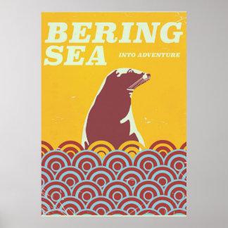 Bering Sea vintage style 1970s adventure poster