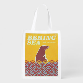 Bering Sea vintage style 1970s adventure poster Reusable Grocery Bag