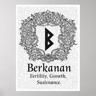 Berkanan Rune /Fertility / White Version Poster