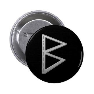 Berkano Rune grey 6 Cm Round Badge