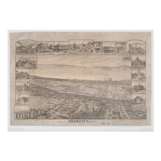 Berkeley, CA. Panoramic Map 1891 (0099A) -Restored Poster