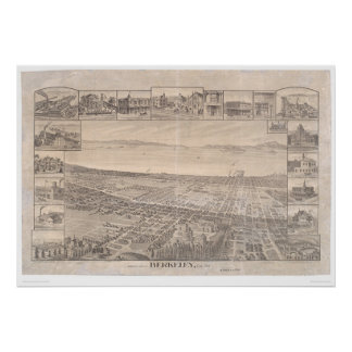 Berkeley, CA. Panoramic Map 1891 (0099A) - Unrest. Poster