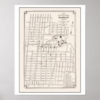 Berkeley California City Map 1898 Poster