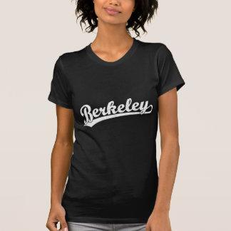 Berkeley script logo in white t shirts