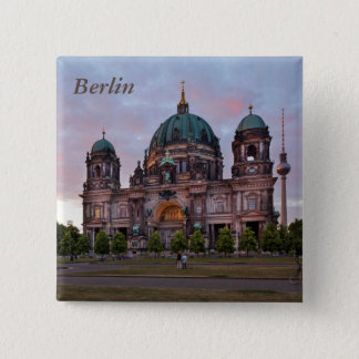 Berlin Cathedral with Television Tower and Lustgar 15 Cm Square Badge