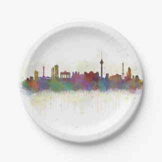 Berlin City Germany. Deutsche Skyline art v2 Paper Plate