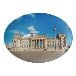 Berlin city Germany Reichstag building landmark ar Porcelain Serving Platter