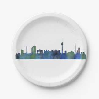 Berlin City Germany watercolor Skyline art Paper Plate