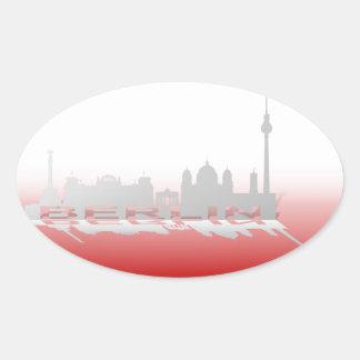 Berlin Cityscape_3 Oval Sticker