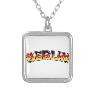Berlin, Germany, text with Germany flag colors Silver Plated Necklace