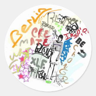 Berlin Graffiti Girl Round Sticker