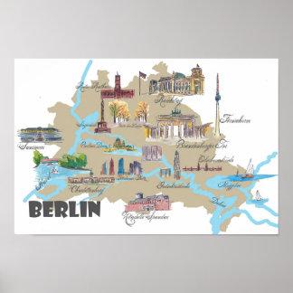 Berlin highlights map poster