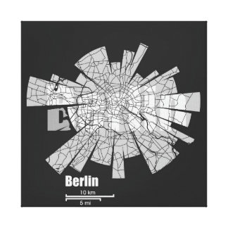 Berlin Map Wrapped Canvas Stretched Canvas Print