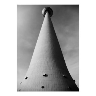 Berlin TV tower black Weis Poster