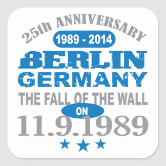 Berlin Wall Germany 25 Year Anniversary Square Sticker
