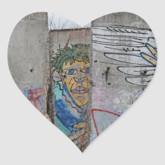 Berlin Wall graffiti art Heart Sticker