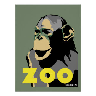 Berlin Zoo monkey retro vintage style Poster