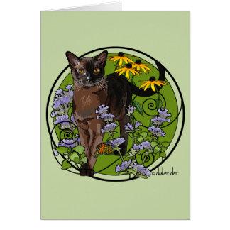 Bermese Cat with Rudbeckia Card