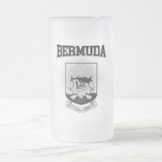 Bermuda Coat of Arms Frosted Glass Beer Mug