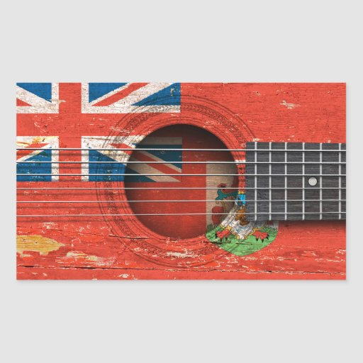 Bermuda Flag on Old Acoustic Guitar Stickers
