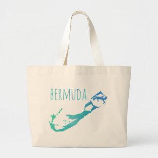 Bermuda Map Large Tote Bag