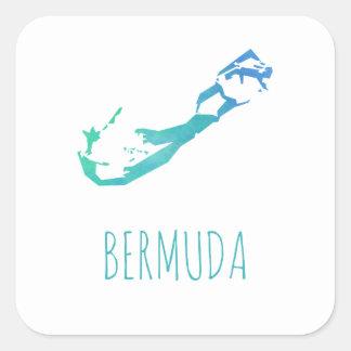 Bermuda Map Square Sticker
