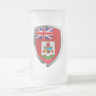 Bermuda Mettalic Emblem Frosted Glass Beer Mug