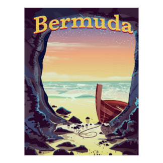 Bermuda Pirate Cave travel poster