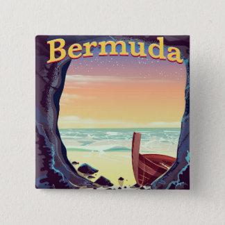 Bermuda Pirate Cave travel poster 15 Cm Square Badge