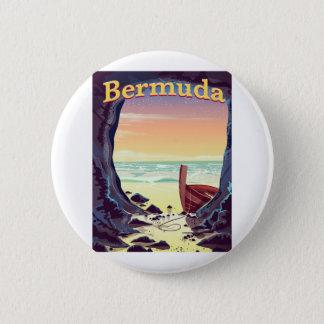 Bermuda Pirate Cave travel poster 6 Cm Round Badge