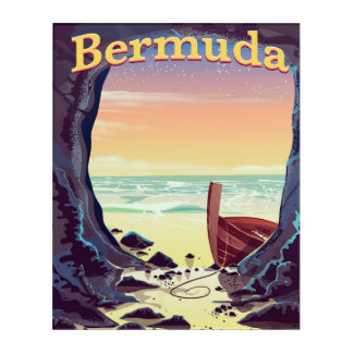 Bermuda Pirate Cave travel poster Acrylic Wall Art