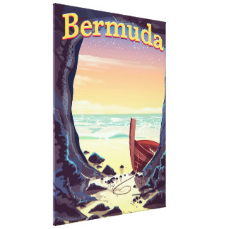 Bermuda Pirate Cave travel poster Canvas Print