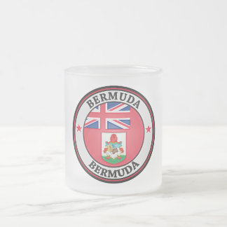Bermuda Round Emblem Frosted Glass Coffee Mug