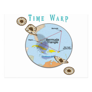 Bermuda triangle time warps postcard
